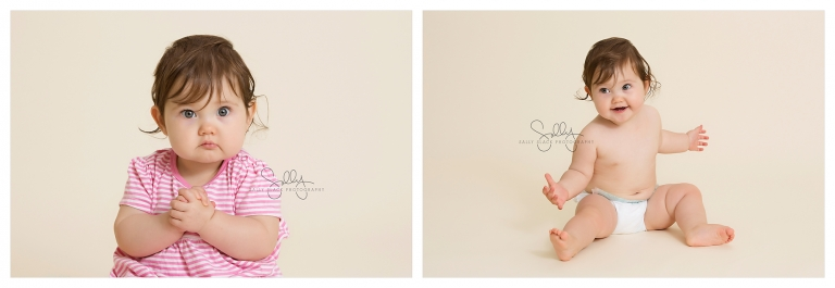 Newborn Photographer Near Me, two gorgeous images of a little girl sitting.